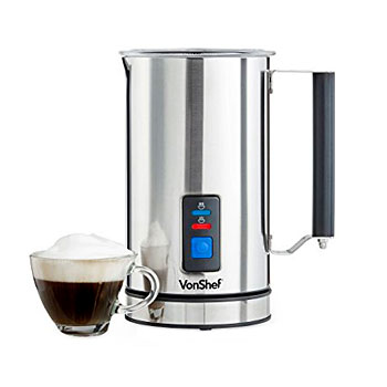VonShef Electric Milk Frother Premium Stainless Steel Dual Function