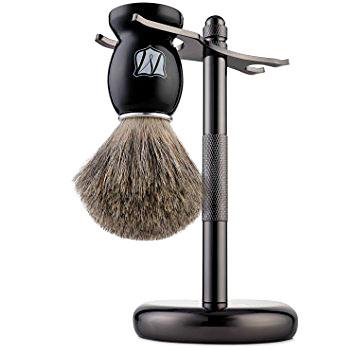 Miusco - Badger Hair Shaving Brush and Stand - Black